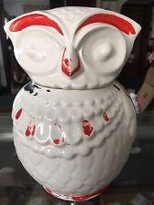 VINTAGE OWL COOKIE JAR LID WHITE AMERICAN BISQUE UNMARKED