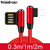 Winfyne Elbow L SHAPE 90 Degree Lightning Charging Cable Apple Iphone X 8 7 6 UK