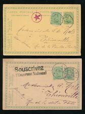 BELGIUM 1920 STATIONERY UPRATED + EXTRA POSTAL MARKS to NELS...STAR + WAR BONDS