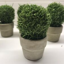 """Miniature 4"""" Topiary Tree Realistic Faux Plant Ball Clay Pot Table Diaplay"""