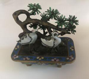 Vintage Chinese Silver Enamel Bird Sculpture Flower Tree Brass Cloisonne Planter