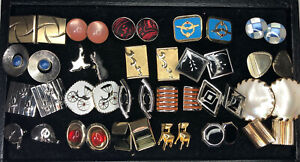Lot of 22 Pairs of Mostly Vintage Cufflinks Mother of Pearl, Golf Clubs, Chairs