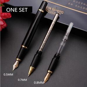 Hero Metal Fountain Pen Blacking Painting Art pen Gift Box with 3 refills + 3nib
