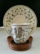Demitasse Set Hand Painted in Outeiro Agueda, Portugal-Rooster Motif-Signed