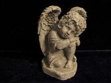 """8"""" Cement Boy Angel Cherub Sleeping Antiqued Gray & White Garden Concrete Statue"""