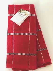 KITCHENAID Set of 2 RED Picadilly Squares Kitchen Dish Bar Towels Gray White