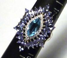 Wow! Natural! 11 X 6mm Celeste Azul Topacio,Tanzanita .925 de Plata Anillo Talla
