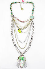 BETSEY JOHNSON 'Vintage Critters' Bug Gingham Layered Long Necklace