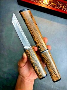 Japanese Tanto Knife Mini Katana Hunting Tactical Combat Forged Damascus Steel S