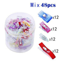 48Pcs DIY Patchwork Plastic Clothing Clips Holder For Fabric Quilting Sewing SK