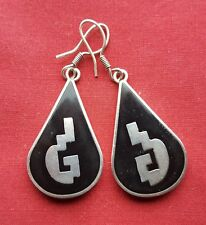 Sterling Mexican Inlay Pierced Earrings - Reduced!
