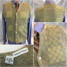 Giorgio Armani Cardigan Sweater Vest S Tan Wool Mohair Hong Kong YGI H8-300