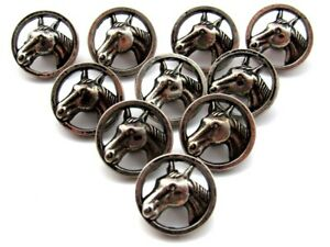 Vintage Metalized Plastic Horse Head Silver Sewing Buttons Matching Lot of 10