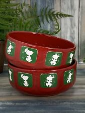 2 Waechtersbach Red Green Snoopy Soup Cereal Bowls