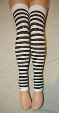 Black White Stripe Footless Stockings Leg Avenue 3908 Legwarmers