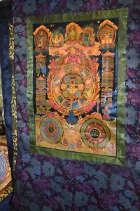 Thangka Tib Mahakala/Lebensrad/verschiedene Gottheiten/Mandalas Seidenbr 85x65cm