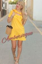 ZARA NEW YELLOW FRILLED DRESS SIZE M UK 10