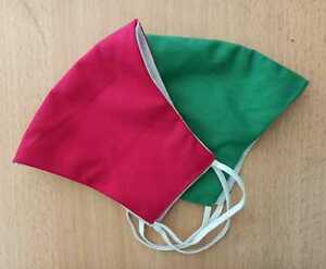 RED GREEN SOFT HANDMADE COTTON FACE MASK WASHABLE