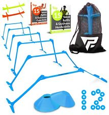 """6 Adjustable Hurdles and 12 Cone Set (6"""", 9"""", or 12"""" Height)Agility Sport - Blue"""