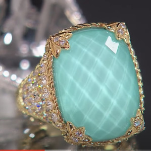 Judith Ripka SS 14K Clad TURQUOISE/QUARTZ  DOUBLET Ring 7 NWT Ret. 240 $
