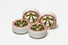 Tamiya 95076 Mini 4wd Parts Gold Plated 5-spoke Wheels W/white Low Profile Tires