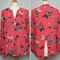 OASIS Pink Butterfly Print Pattern Long Blouse Tunic Top - UK Size 10