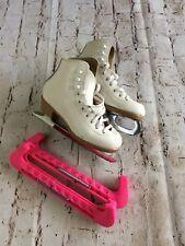 Riedell Girls White Figure Ice Skates Usa w/ Mk (England) Blade Size 7 2/3