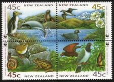 Wildlife Species Unique To New Zealand: Complete Set in a Block of 4 Different