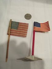 2 Small Flags 48 Stars - Paper Base - Linen (Cheese Cloth?) Stick - Train - Flag