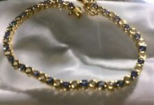 5.5 Ct, Tanzanite And Zircon Tennis Bracelet, Gold On Sterling Silver, Size 7.5""
