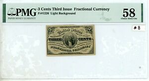 PMG AU58 3 Cent Fractional Currency Third Issue Note Fr#1226 #8