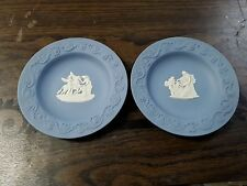 """2 Wedgwood Jasperware Blue and White Dishes Plates Slightly Smaller Than 4.5"""""""
