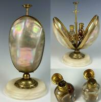Antique French Scent Caddy, Mother of Pearl Egg, Mechanical w 2 Perfume Bottles