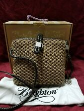 Brighton Woven Handbag Purse Brown Leather Ladies w/ Dust Bag