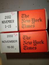 November 2002 New York Times on MICROFILM - 2 reels of film