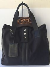 Auth. TOD'S Black Leather / Nylon Tote/Shoulder bag