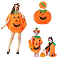 Adult Children Pumpkin Halloween Fancy Dress Cosplay Costume Outfit Pumpkin Cape