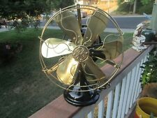"Antique General Electric GE KIDNEY Oscillating Fan 12"" brass blade fan"