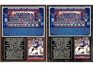 1990 New York Football Giants Super Bowl XXV Champions Photo Card Plaque