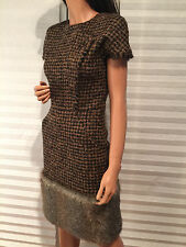 Auth. CHANEL '10 Fall RTW Collection Brown Tweed Fur CC Jeweled Button Dress 38