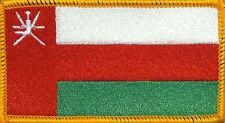 OMAN FLAG Iron-on PATCH SOUVENIR EMBLEM GOLD BORDER #06