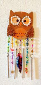 Lil' OWL WindChimes! Enameled FEATHER, 7 Strands, 4 Silver Windchime Tubes