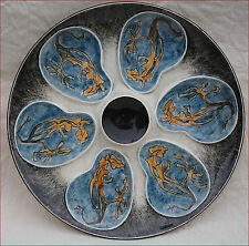 Quimper Oyster Plate Bron Blue Seaweed Oriot Artist Keraluc France 1950