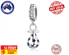 Cute Baby Pacifier Dummy 925 Sterling Silver Charm for Bracelet - AUS STOCK
