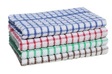Terry Mono Check Tea Towel Pack of 3, 6, 9 or 12 Kitchen Cloths