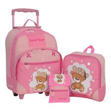 Kindertrolley 3er SET Keanu Sweet Bear Trolley Bärchen Rucksack Brustbeutel Pink