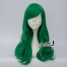 55CM Party Bang Dark Green Long Curly Women Lolita Synthetic Hair Cosplay Wig