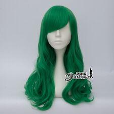 55CM Anime Bang Dark Green Long Curly Party Lolita Halloween Cosplay Wig+Wig Cap