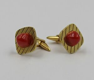 Vintage Mid-Century Red Coral Sugarloaf Cabochons 18K Yellow Gold Cufflinks