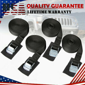 """4Pack 1""""x16ft Car Tie Down Straps Up To 600LBS Lock Buckle Cargo Lashing Straps"""